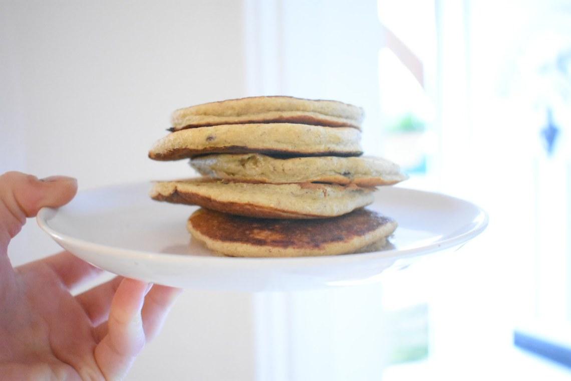 blackberry banana oat pancake stack